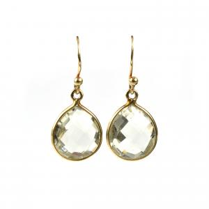 Raindrop earrings gold- green amethyst